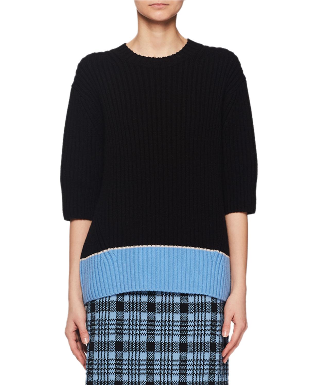 Crewneck Elbow-Sleeve Chunky Ribbed Wool Sweater w/ Colorblock Hem