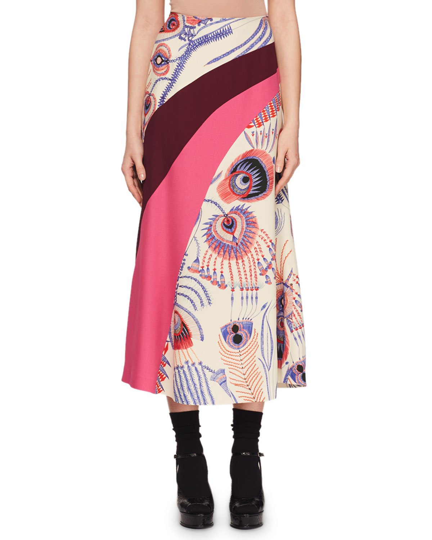 Spirit-Print Wave-Inset A-Line Midi Skirt