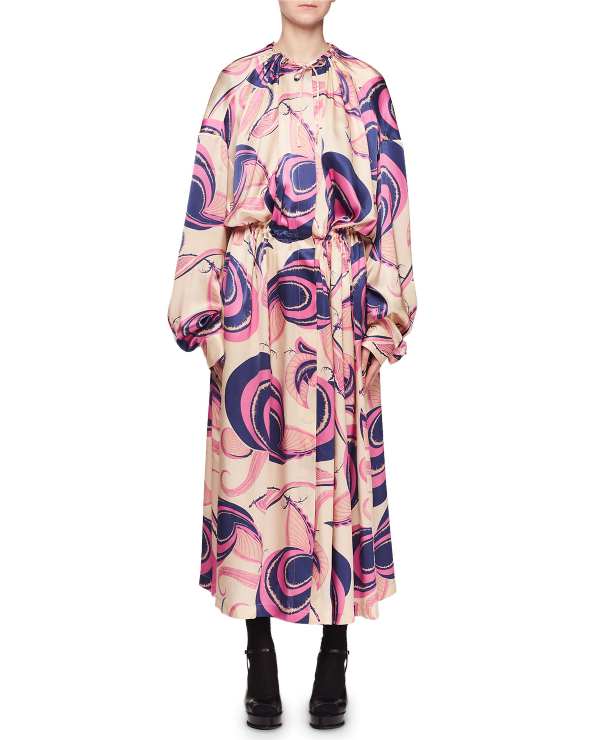 Toggle-Neck Long-Sleeve Floral-Print Coat Dress
