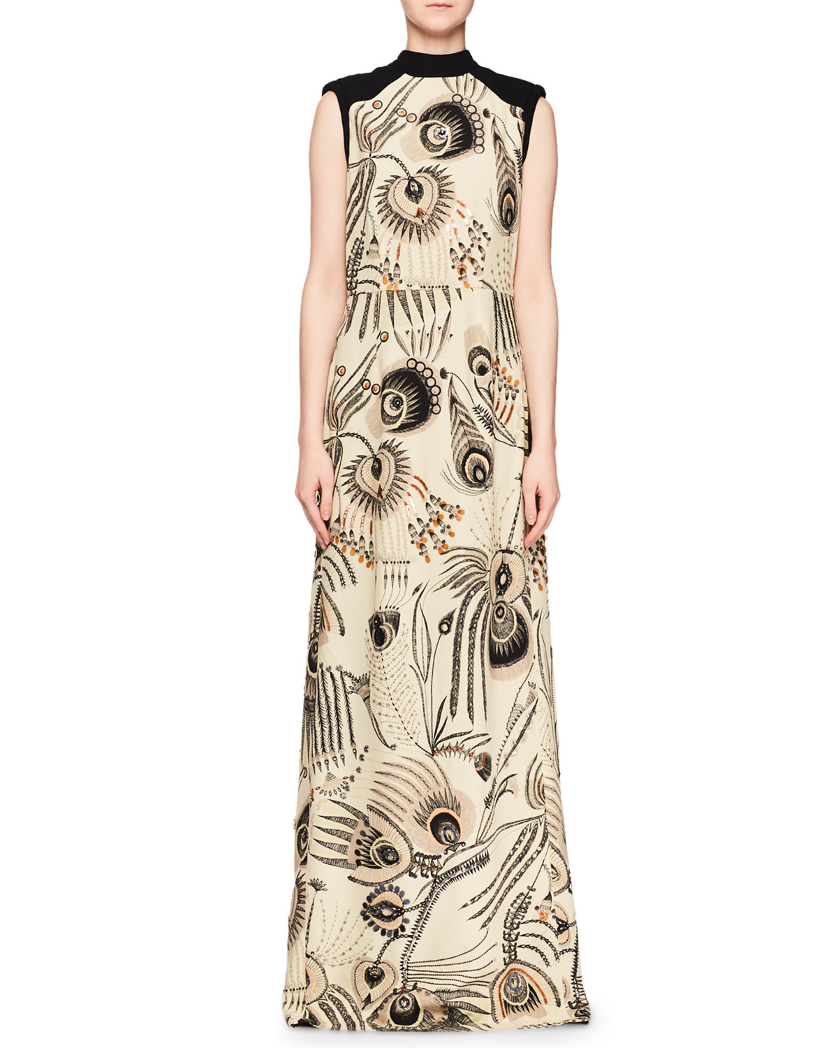 High-Neck Sleeveless Beaded Feather-Print Evening Gown w/ Solid Back