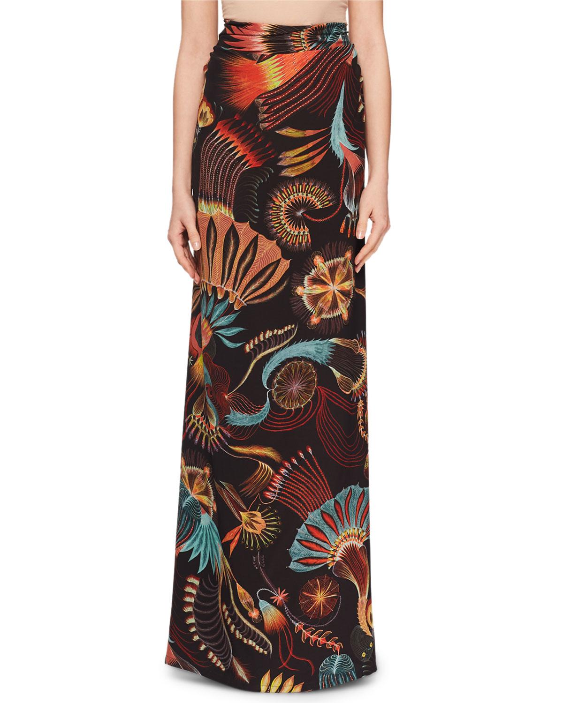 Sun-Catcher Print Ruched Fishtail Long Skirt, Black