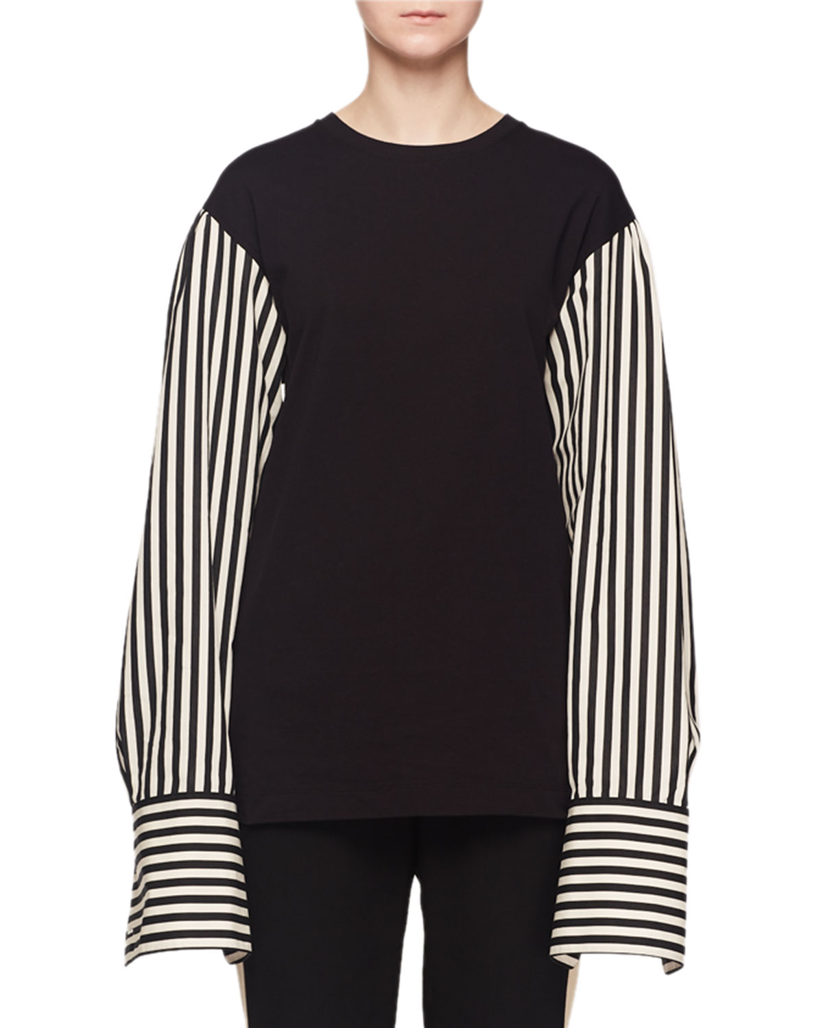 Striped Long-Sleeve Shirting Cotton T-Shirt