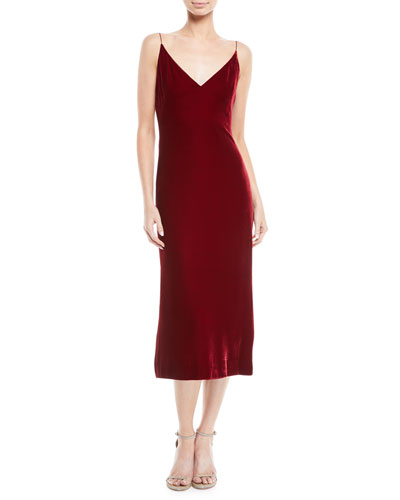 V-Neck Sleeveless Velvet Slip Cocktail Dress