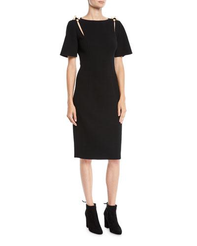 Short-Sleeve Bateau-Neck Crepe Wool Pencil Cocktail Dress w/ Brooch Detail