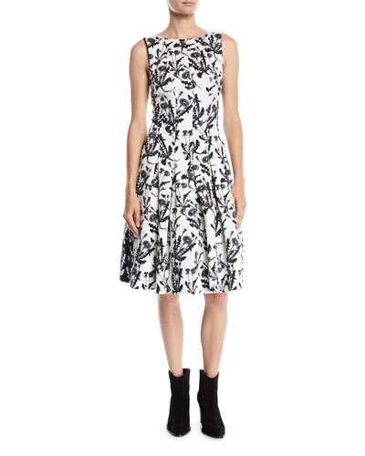 Sleeveless Bateau-Neck Two-Tone Floral-Embroidered Fit-and-Flare Dress with ...