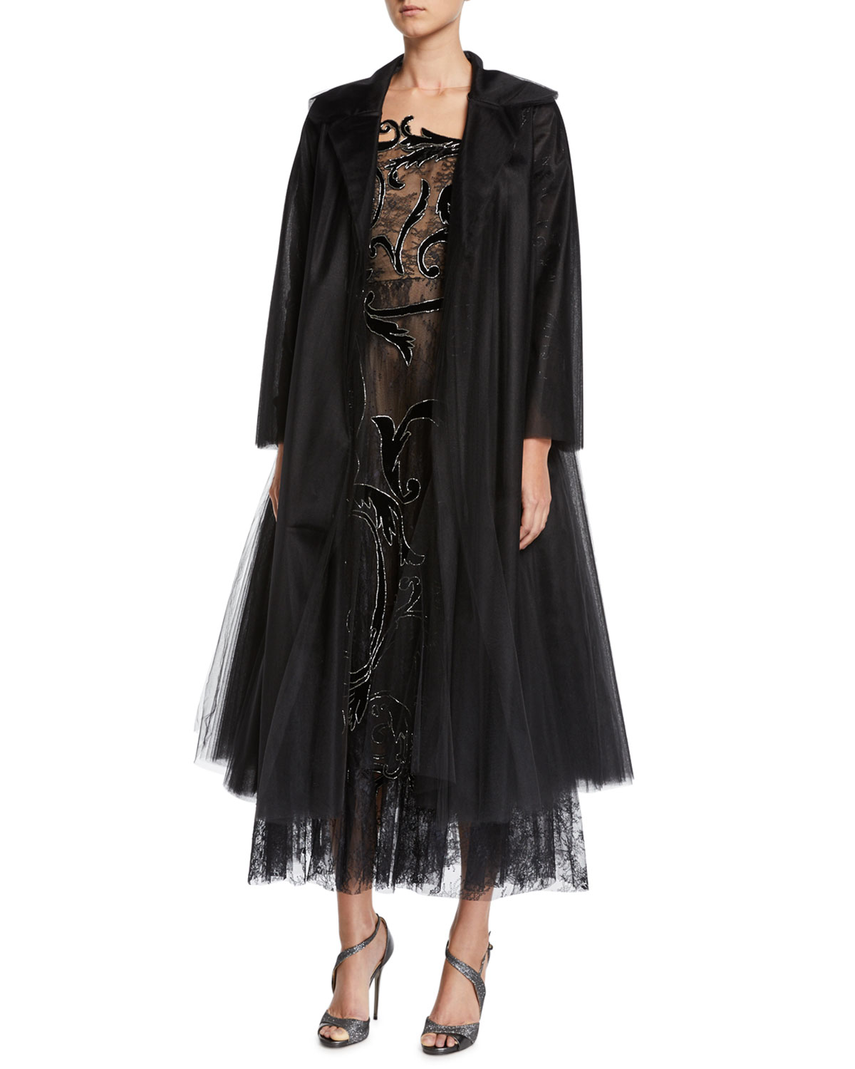 Long-Sleeve Long Tulle Coat