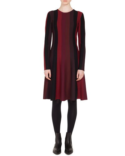 Long-Sleeve Crewneck A-Line Striped Knit Wool Dress