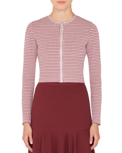 Zip-Front Houndstooth-Knit Bolero Jacket