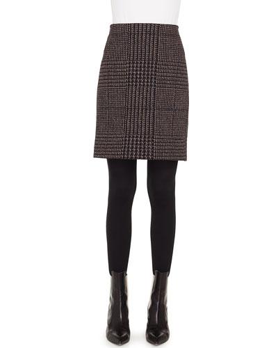 Houndstooth Metallic Jacquard Pencil Mini Skirt