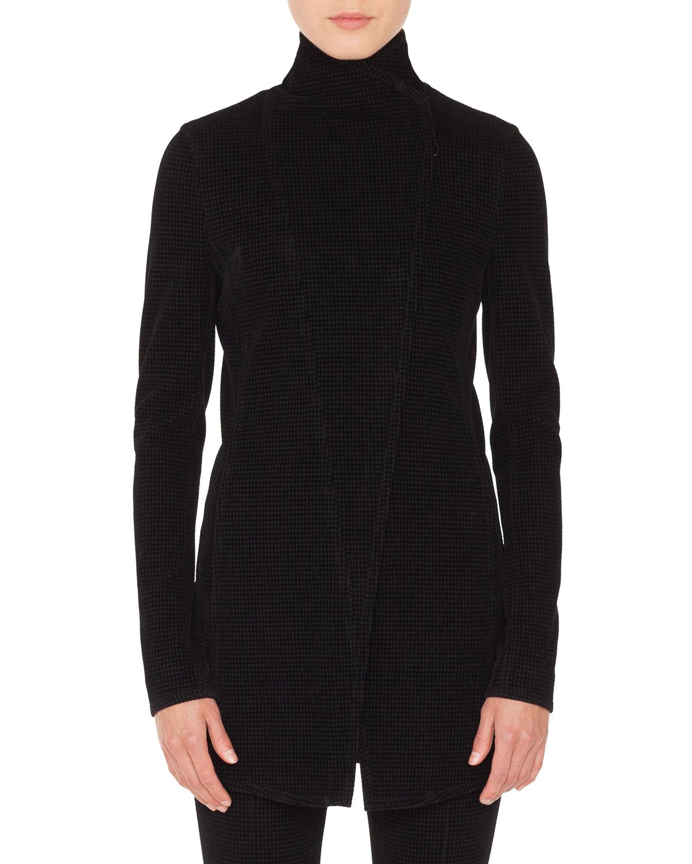 Zip-Front Long-Sleeve Houndstooth Velvet Biker Jacket