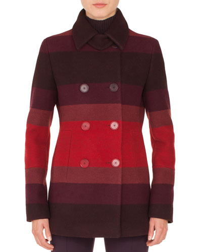 Double-Breasted Multicolor-Stripe Wool Coat