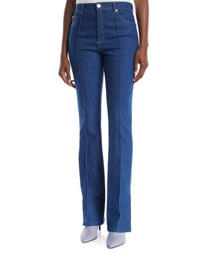 High-Rise Boot-Cut Zip-Cuffs Jeans w/ Seam Details