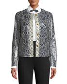 Escada Button-Front Snake-Print Lamb Leather Short Jacket w/
