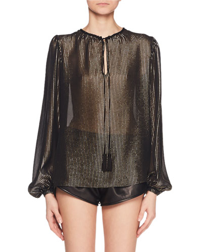 Round-Neck w/ Ties Long-Sleeve Metallic-Striped Top