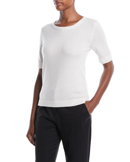 Escada Crewneck Short-Sleeve Wool-Cashmere Sweater
