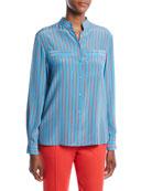 Escada Button-Front Long-Sleeve Striped Silk Blouse