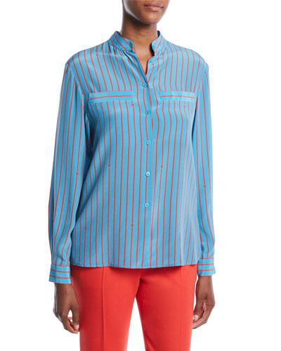 466136fa7060b4 Quick Look. Escada · Button-Front Long-Sleeve Striped Silk Blouse