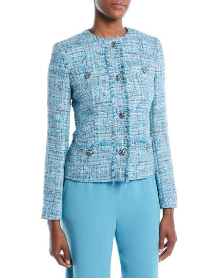 Escada Jeweled-Buttons Fitted Tweed Jacket w/ Fringe Trim