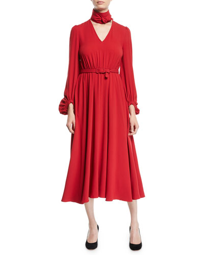 Tie-Neck Long-Sleeve Belted Japanese Crepe Midi Dress