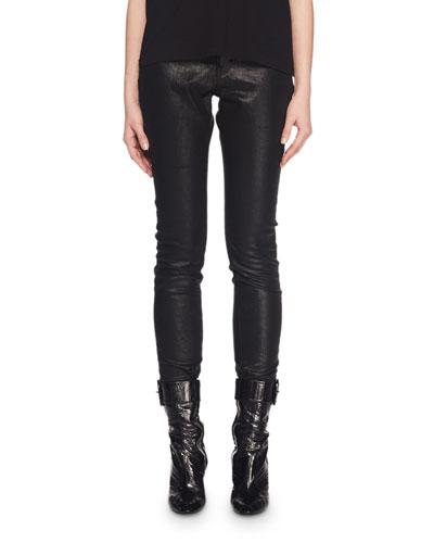 High-Waist Five-Pocket Coated Cotton Skinny Jeans