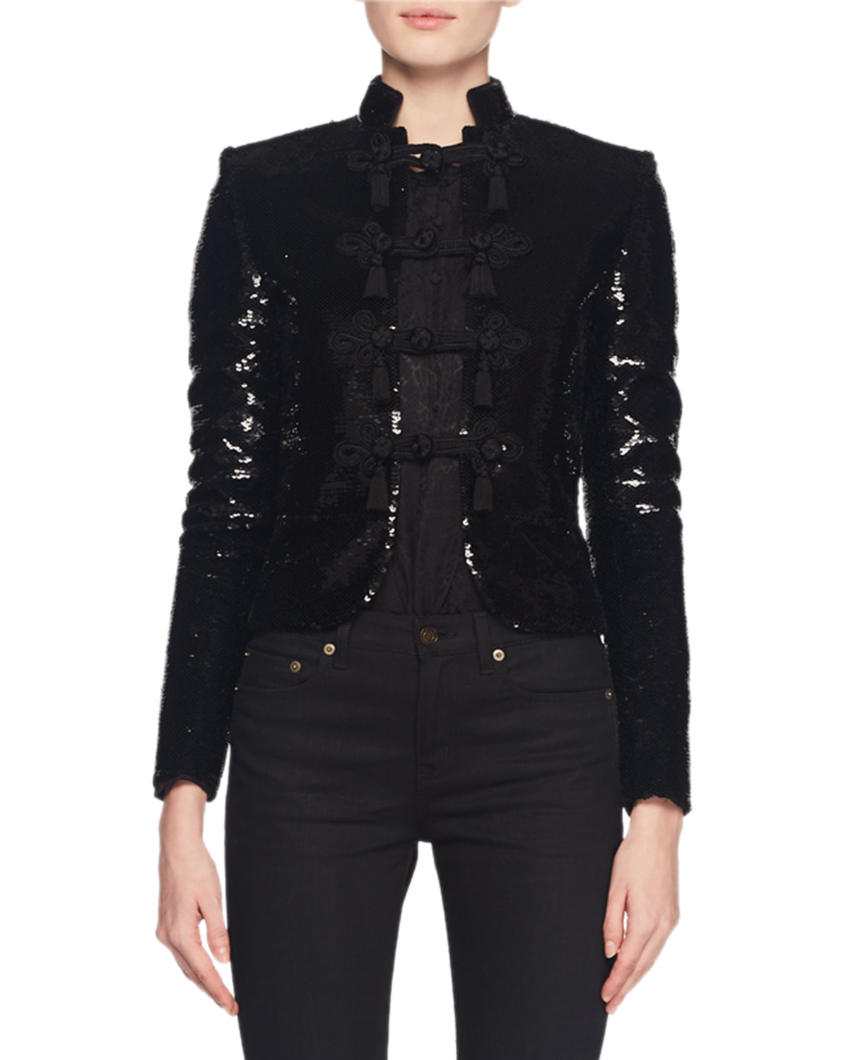 Stand-Collar Frog-Closure Short Boxy Sequin Jacket in Black