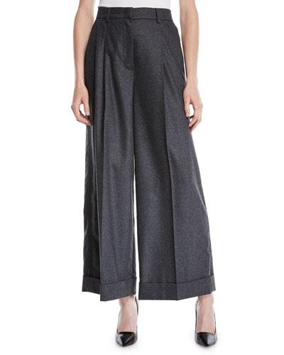 Trinela Pleated Wide-Leg Grosgrain Wool-Blend Pants w/ Tux Stripe