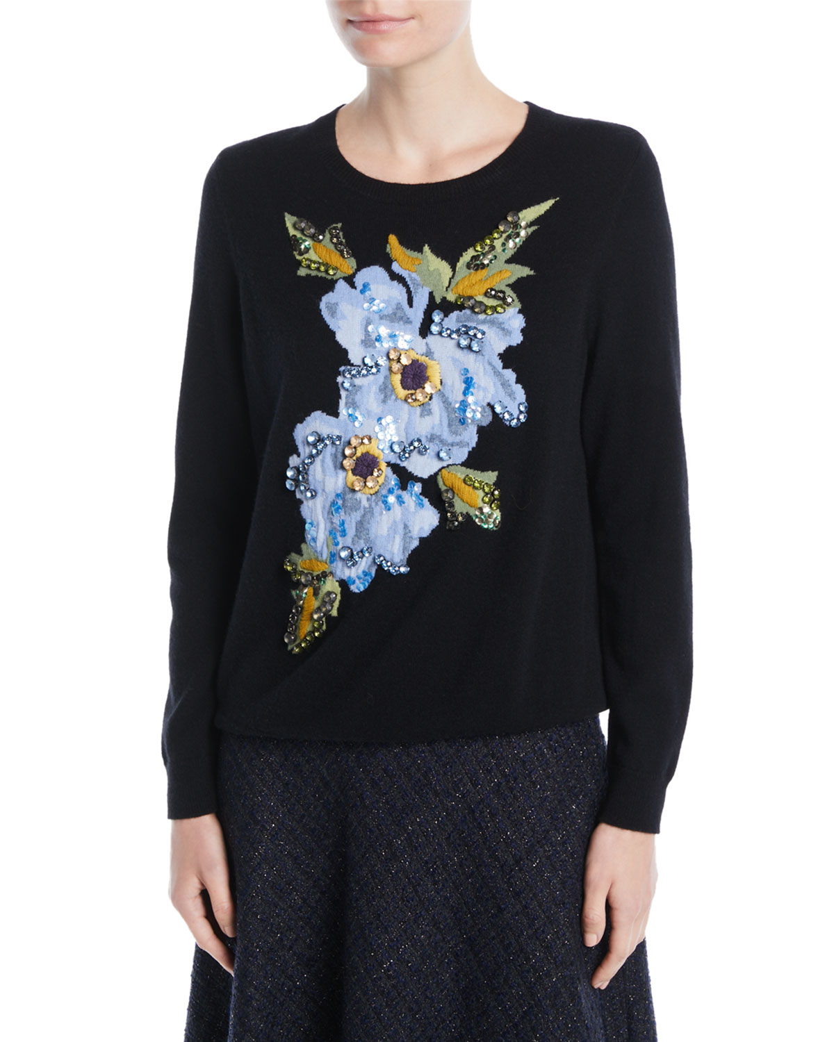 ESCADA CREWNECK FLORAL-EMBROIDERED WOOL-CASHMERE PULLOVER SWEATER