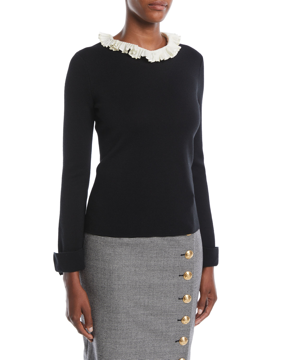 ESCADA LONG-SLEEVE WOOL-SILK PULLOVER TOP W/ REMOVABLE PLEATED-COLLAR