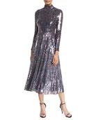 Escada Long-Sleeve Mock-Neck Sequined Midi Dress