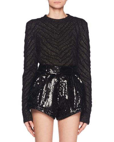 Metallic Zebra-Jacquard Mohair-Blend Knit Sweater