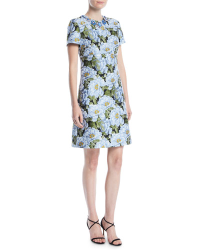 3e3a5279 Quick Look. Escada · Jewel-Neck Short-Sleeve Floral-Jacquard Day Dress