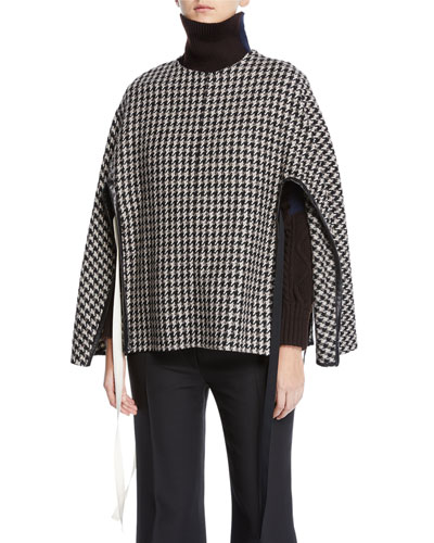 Houndstooth-Wool Side-Tie Poncho Sweater