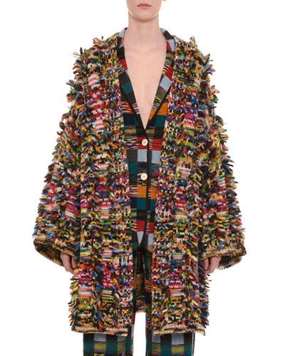 Multicolor Open-Front Cashmere-Alpaca Cardigan