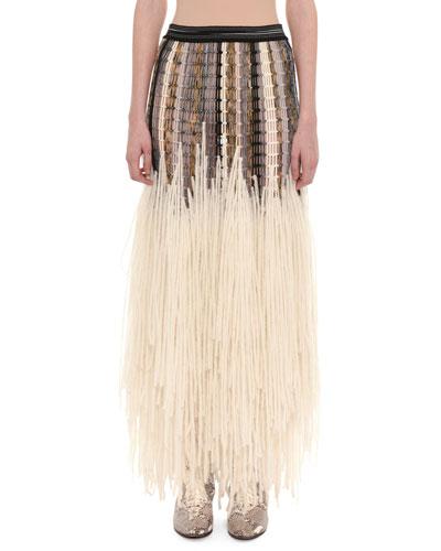 Mesh Top Yarn-Fringe Wool-Blend Long Skirt
