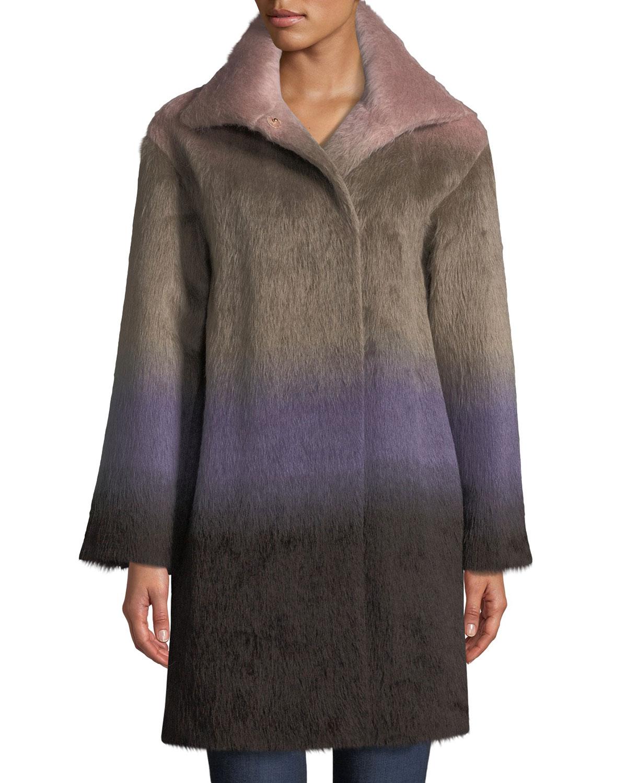 AGNONA Ombre Alpaca Coat in Multi Pattern