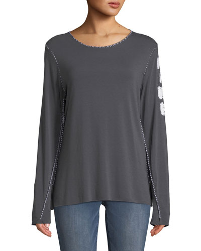 Crewneck Long-Sleeve Topstitch T-Shirt w/ M.I.N.E on Arm