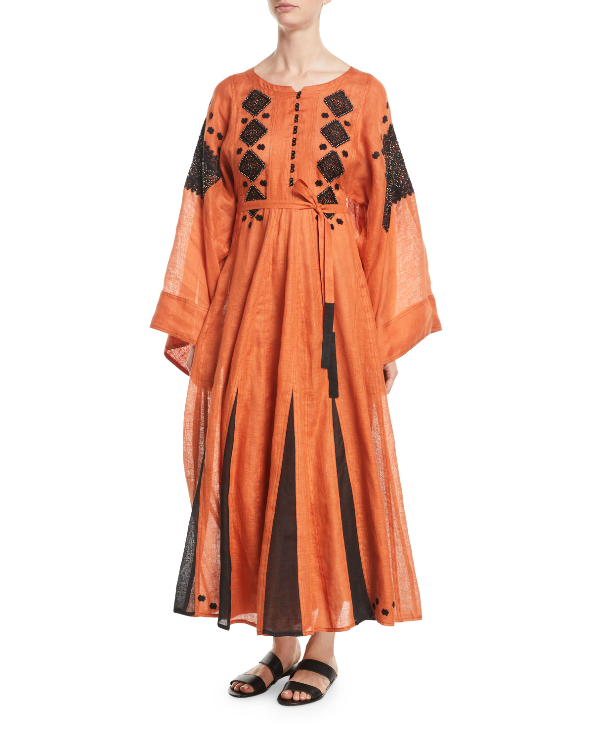 VITA KIN MIRROR ROUND-NECK FLARED-SLEEVES BEADED-EMBROIDERED LONG LINEN DRESS W/ GODET INSETS