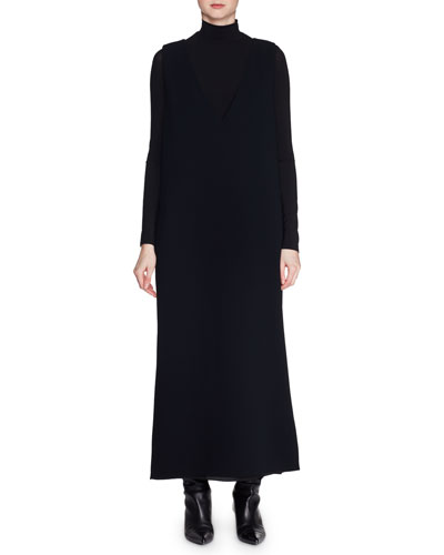 Elia Deep-V Sleeveless Techno Stretch-Cady Long Shift Dress