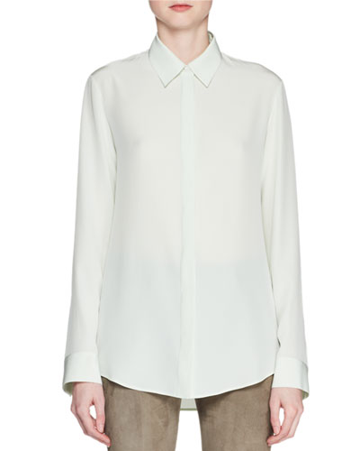 Petah Button-Front Long-Sleeve Silk Shirt
