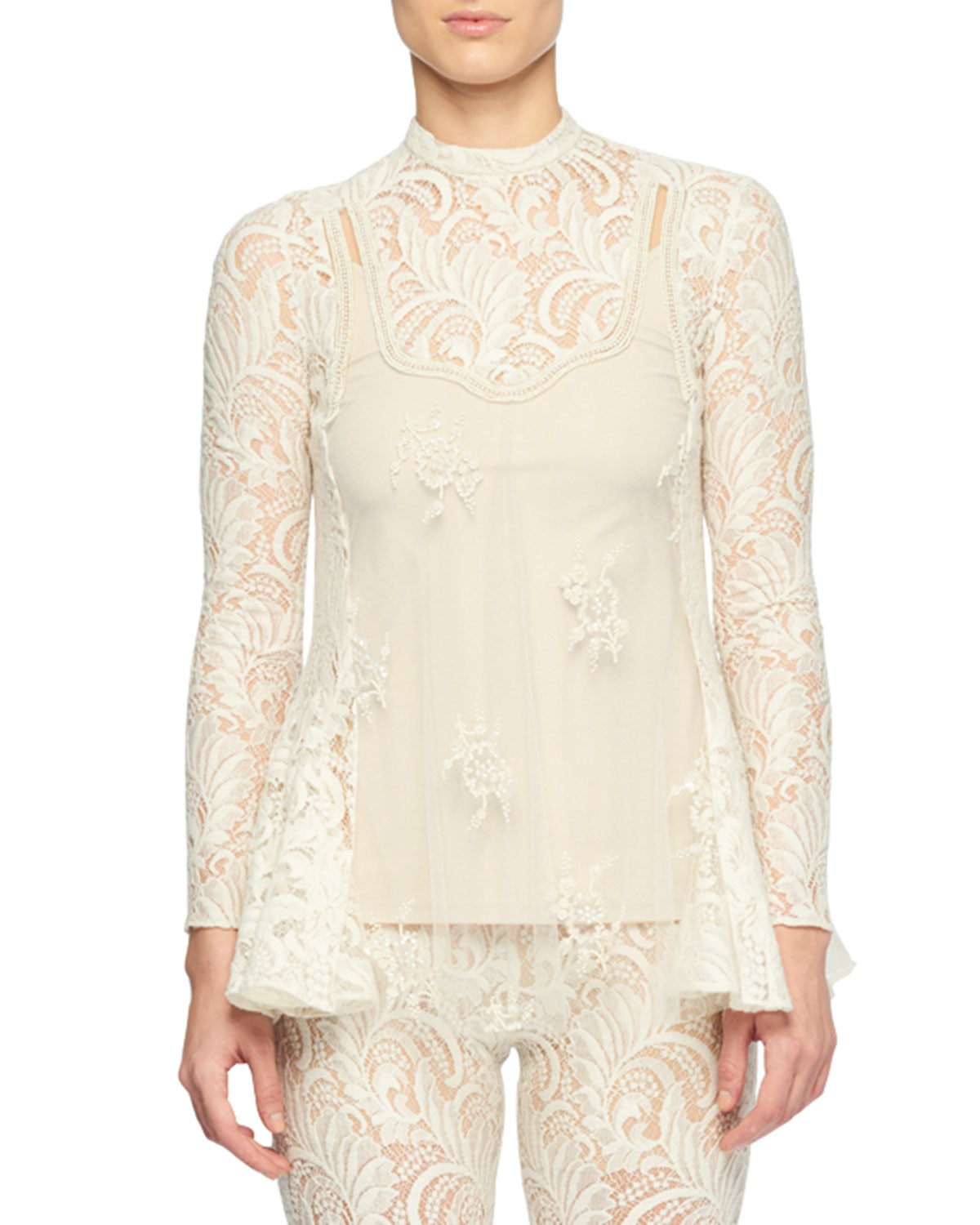 Embellished Paneled Wool-Blend Lace And Tulle Blouse in Neutrals