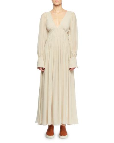 Deep-V Smocked Empire-Waist Silk Long Dress