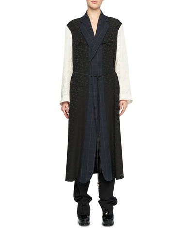 Oversized Mixed-Media Belted Robe-Style Coat