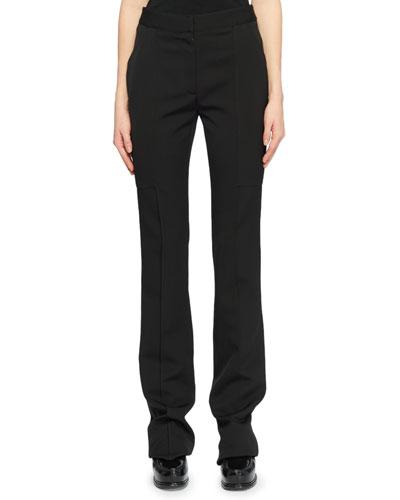 Flat-Front Straight-Leg Wool Pants w/ Elongated Pockets