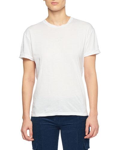 Crewneck Short-Sleeve Cotton T-Shirt with Star