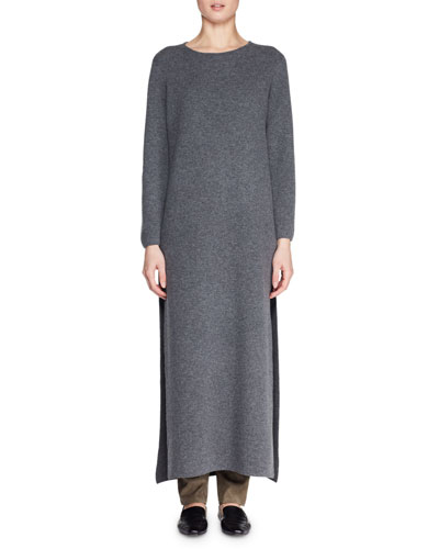 Veronia Round-Neck Long-Sleeve Side-Split Wool-Blend Long Dress