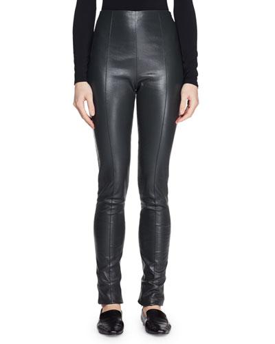 6d42406d57d4b8 Quick Look. THE ROW · Hailen High-Waist Fitted Lambskin Leather Leggings