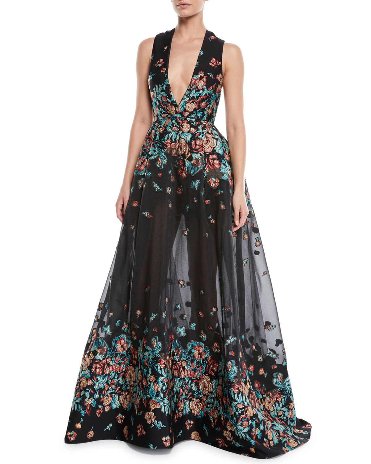 DEEP-V SLEEVELESS FLORAL-JACQUARD FIL COUPE EVENING GOWN