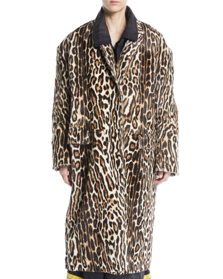 CALVIN KLEIN 205W39NYC Single-Breasted Oversized Leopard-Print Suede Coat