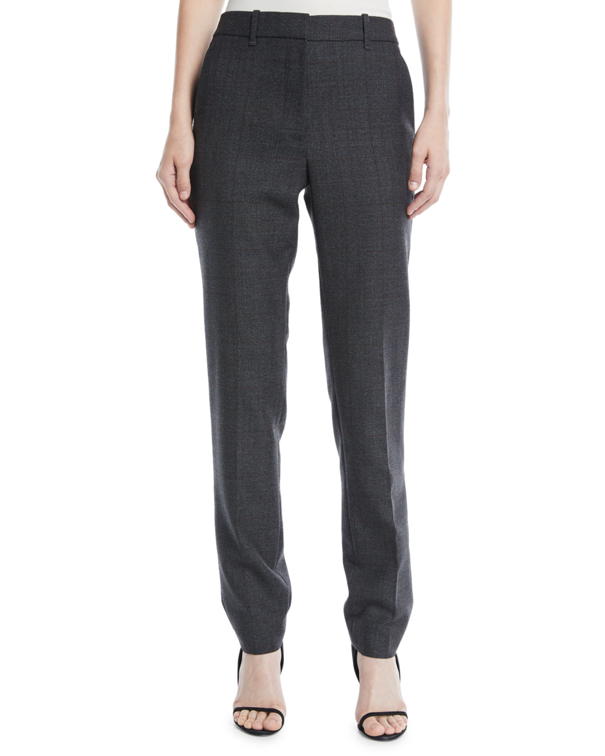 Slim Straight-Leg Worsted Wool Check Pants