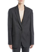 CALVIN KLEIN 205W39NYC One-Button Notched-Collar Worsted Wool